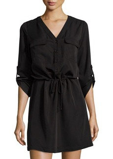 Max Studio Twill-Knit Button-Front Dress