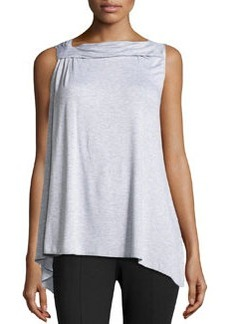 Max Studio Twist-Neck Sleeveless Top, Heather Silver