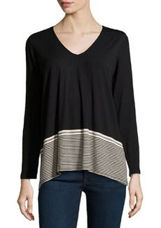 Max Studio V-Neck Striped Jersey Contrast Top, Black/Bone