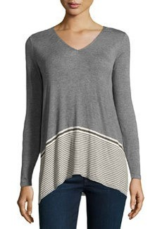 Max Studio V-Neck Striped Jersey Contrast Top, Heather Steel/Bone