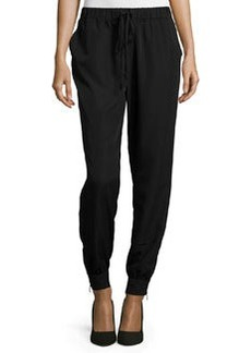 Max Studio Woven Drawstring Track Pants, Black