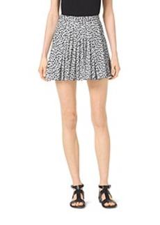 Abstract Jaguar-Print Pleated Skirt