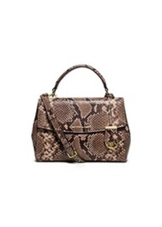 Ava Small Embossed-Leather Satchel