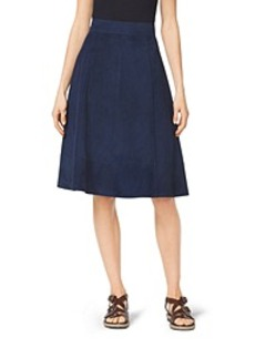 Bonded Suede Flare Skirt