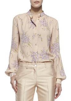 Bouquet-Print Georgette Shirt   Bouquet-Print Georgette Shirt