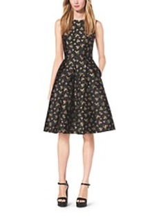 Bouquet Silk-Jacquard Dress