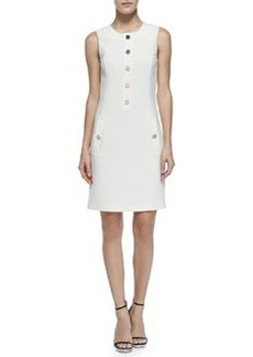 Button-Front Shift Dress, Ivory   Button-Front Shift Dress, Ivory