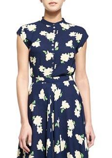 Camellia-Print Cap-Sleeve Blouse, Indigo/White/Yellow   Camellia-Print Cap-Sleeve Blouse, Indigo/White/Yellow
