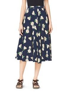 Camellia-Print Silk-Georgette Circle Skirt