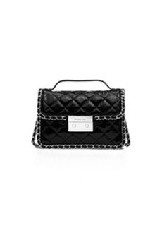 Carine Small Quilted Patent-Leather Messenger