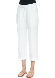 Cashmere-Blend Ankle Pants, Optic White   Cashmere-Blend Ankle Pants, Optic White
