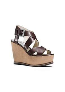 Celia Leather and Suede Wedge