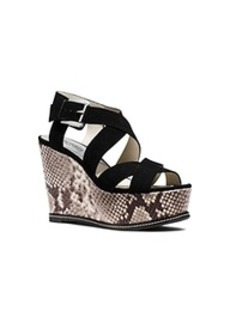Celia Suede and Embossed-Leather Wedge