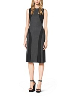 Color-Block Seamed Stretch-Wool Dress