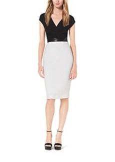 Contrast Bouclé-Crepe Sheath Dress