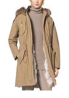 Crinkled Cotton Fur-Lined Parka