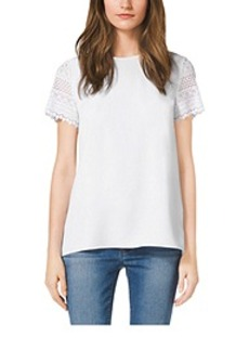 Crochet-Sleeve Pleat-Back Shirt