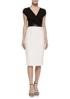 Cross-Front Plunge Contrast Sheath Dress   Cross-Front Plunge Contrast Sheath Dress