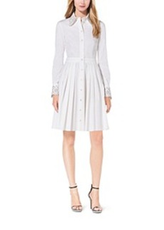 Crystal-Embellished Cotton-Poplin Shirtdress