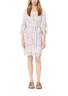 Crystal-Embellished Scalloped-Lace Shift Dress
