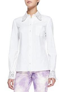 Crystal/Eyelet Embellished Shirt   Crystal/Eyelet Embellished Shirt