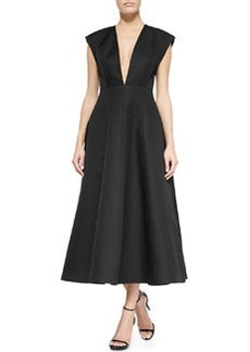 Deep V-Neck Back-Pleated Dress, Black   Deep V-Neck Back-Pleated Dress, Black