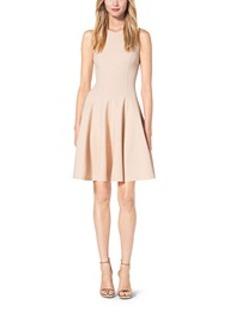 Double-Face Stretch Wool-Crepé Flare Dress