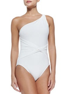 Draped Twisted One-Shoulder Swimsuit   Draped Twisted One-Shoulder Swimsuit