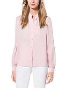 Drop-Sleeve Silk-Georgette Shirt