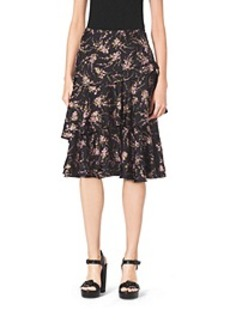 Elderflower-Print Tiered Ruffle Silk-Twill Skirt