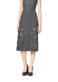 Embroidered Shetland Wool A-Line Skirt