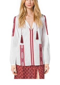 Embroidered Voile Shirt, Plus Size