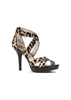 Evie Cheetah Calf Hair Platform Sandal