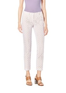 Eyelet-Embroidered Silk-Jacquard Skinny Pants