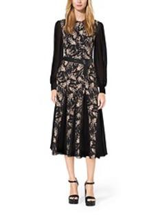 Floral-Embroidered Silk-Chiffon Dress