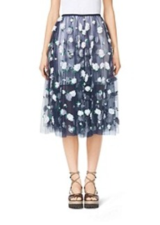 Floral-Embroidered Tulle Ballerina Skirt