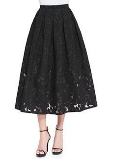 Floral Fil Coupe Midi Skirt, Black   Floral Fil Coupe Midi Skirt, Black