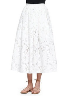Floral Fil Coupe Midi Skirt, Optic White   Floral Fil Coupe Midi Skirt, Optic White