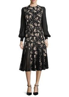 Floral-Print Chiffon-Inset Dress, Nude/Black   Floral-Print Chiffon-Inset Dress, Nude/Black