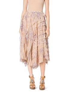 Floral-Print Ruffle Silk-Chiffon Skirt