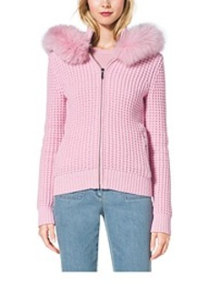 Fox-Trimmed Cotton and Cashmere Hoodie