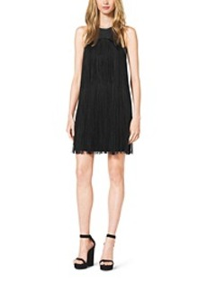 Fringed Stretch Bouclé Crepe Mini Dress