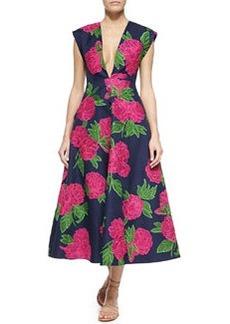 Geranium-Print Deep V-Neck Back-Pleated Dress, Indigo   Geranium-Print Deep V-Neck Back-Pleated Dress, Indigo