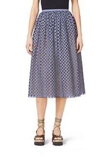 Gingham Lattice-Embroidered Cotton-Poplin Skirt