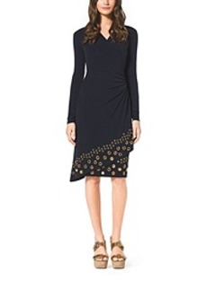 Grommet-Embellished Matte-Jersey Wrap Dress