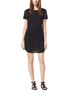 Grommet-Embellished Perforated Mini Dress