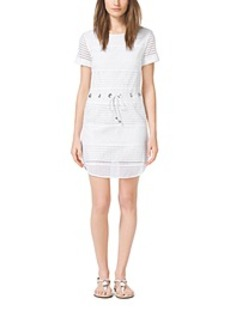 Grommet-Embellished Perforated Mini Dress, Petite