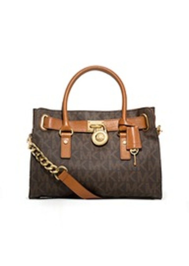 michael kors hamilton medium logo satchel handbags shop it to me. Black Bedroom Furniture Sets. Home Design Ideas
