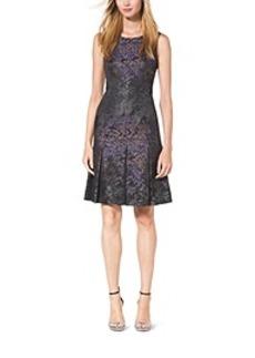 Inverted-Pleat Silk-Jacquard Dress