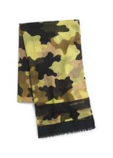 Kala Camouflage Modal and Silk-Blend Scarf